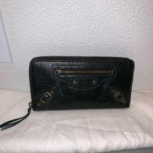 Authentic Balenciaga zip around wallet clutch bag